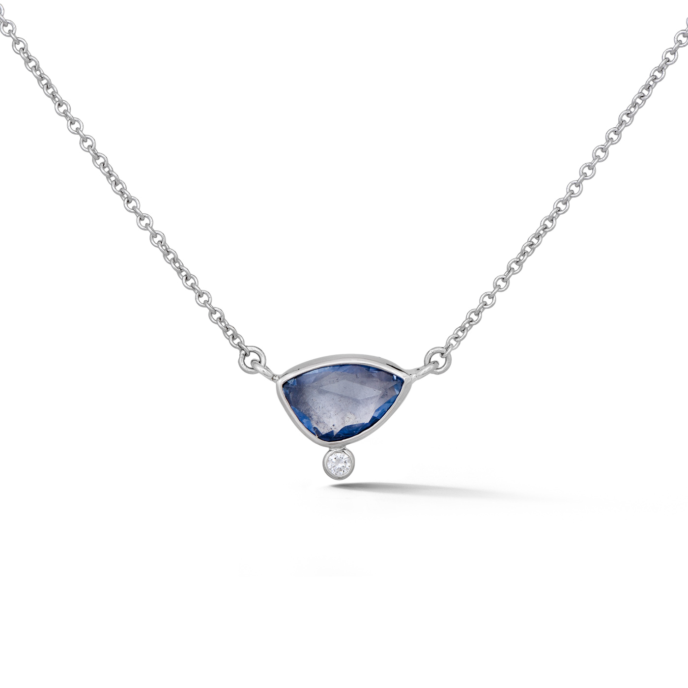 Rose Cut Sapphire and Diamond split chain necklace