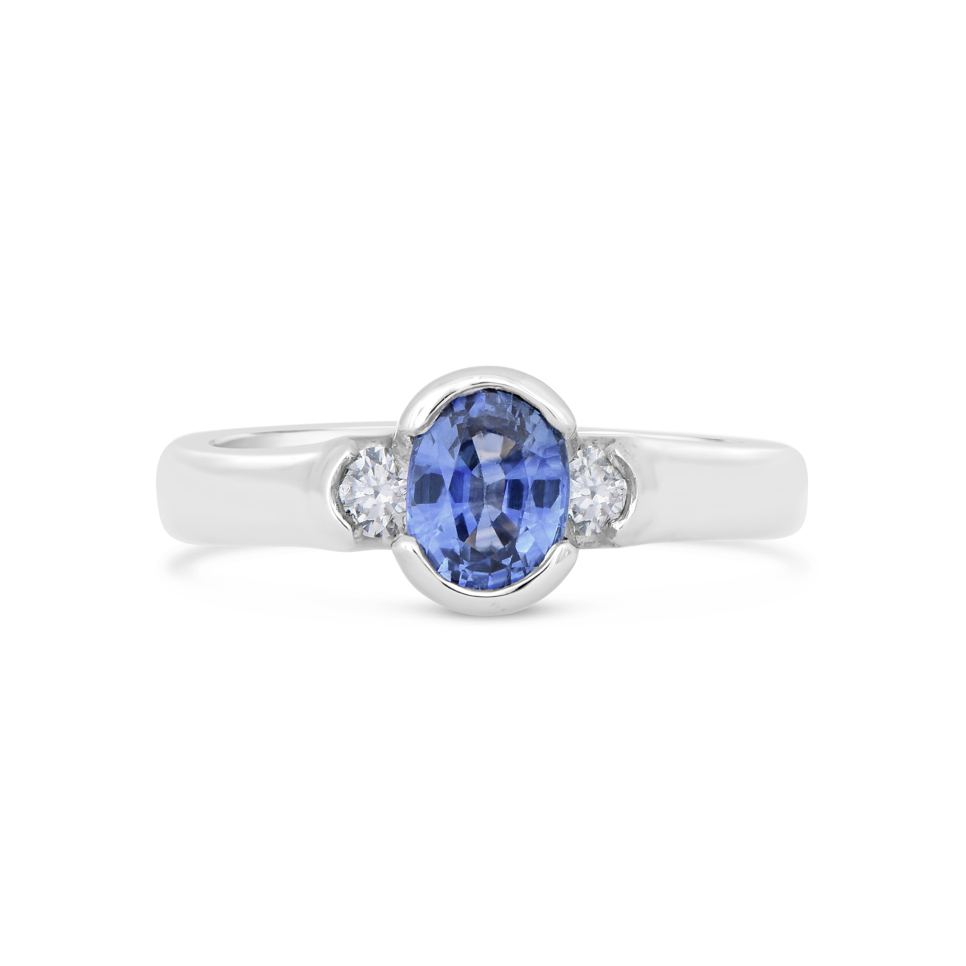Oval sapphire and diamond ring wr0265 dejonghe original for Sapphire studios jewelry reviews