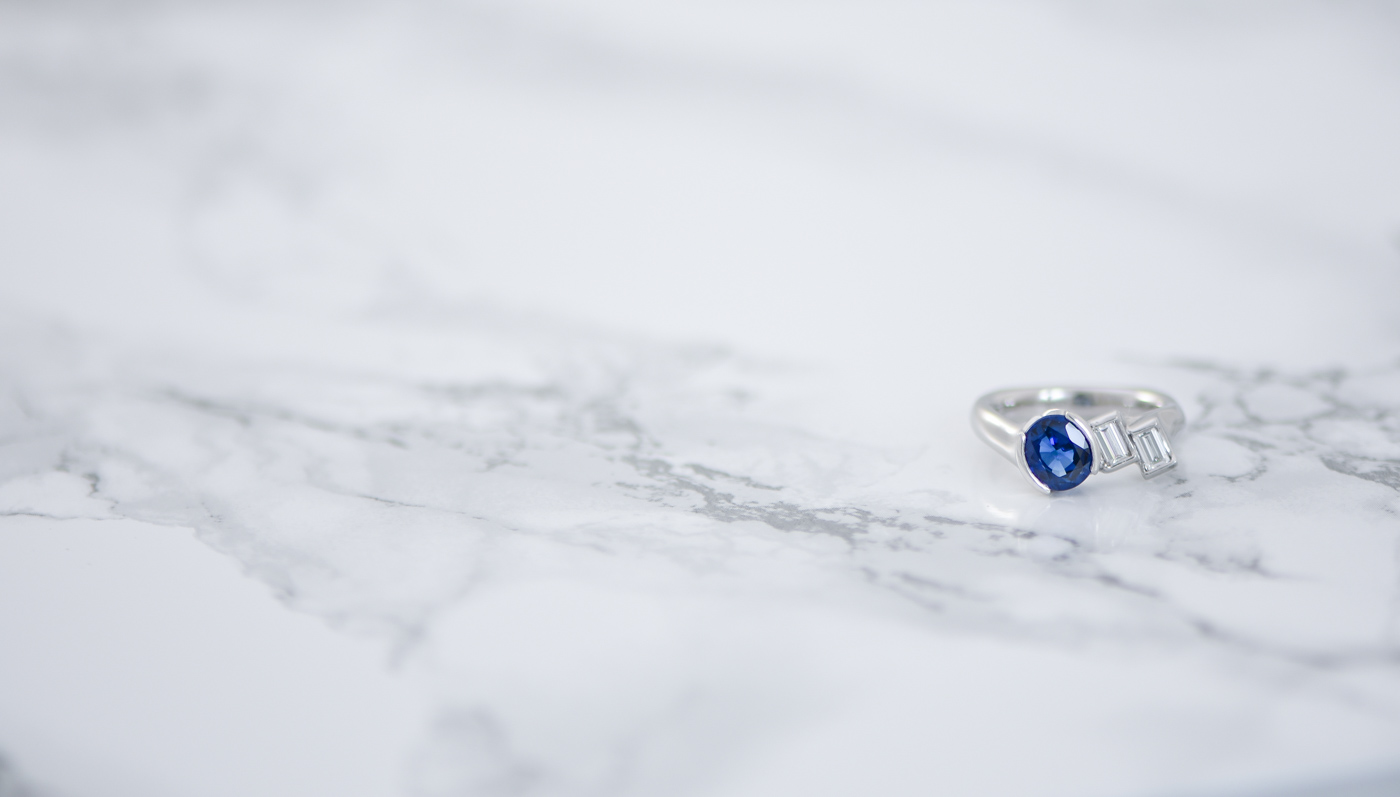 Oval Sapphire and Baguette Diamond Ring