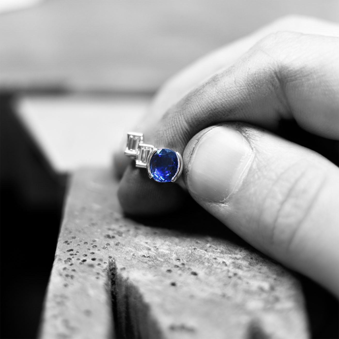 Making the Oval Blue Sapphire Platinum Ring