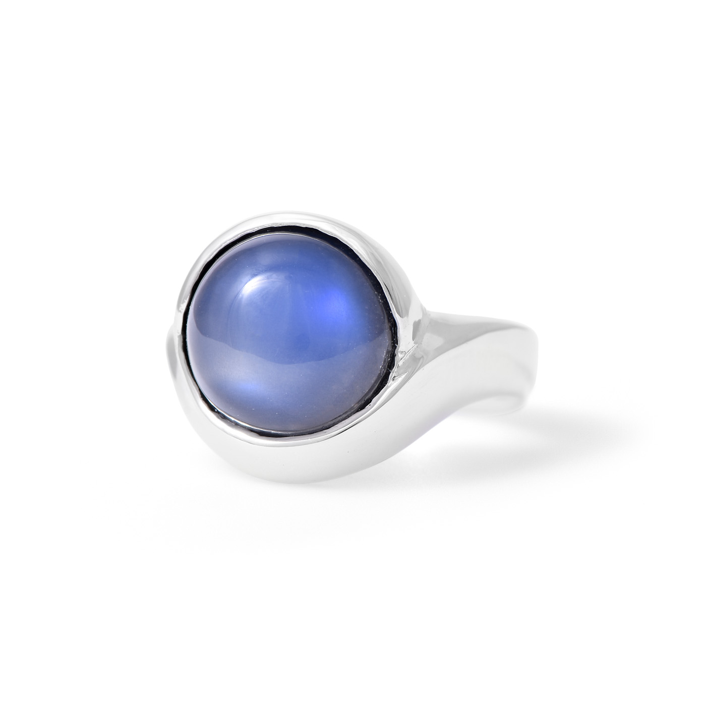 Round Blue Moonstone Ring
