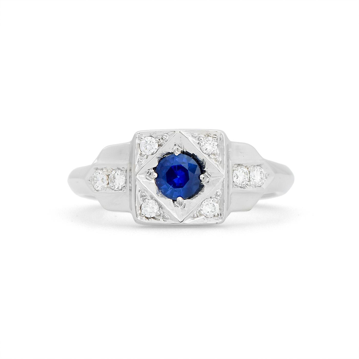 Art deco diamond ring wr0326 dejonghe original jewelry for Sapphire studios jewelry reviews