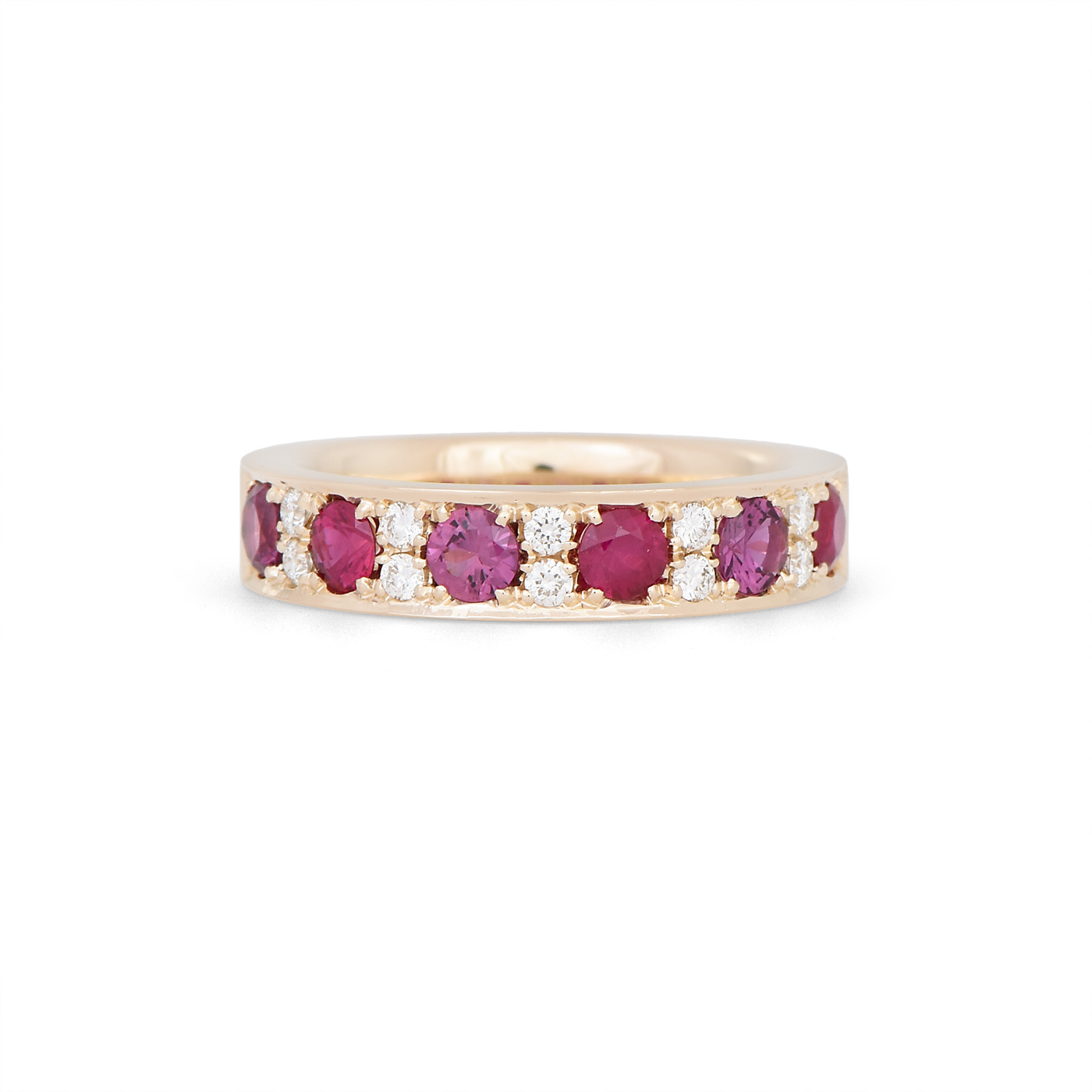 Gemstone and Diamond Pave set band