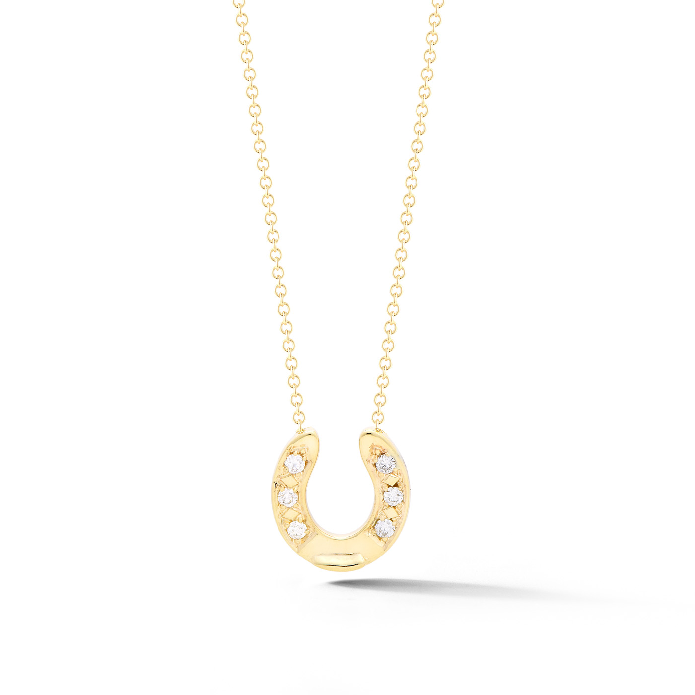 Diamond and gold horseshoe necklace