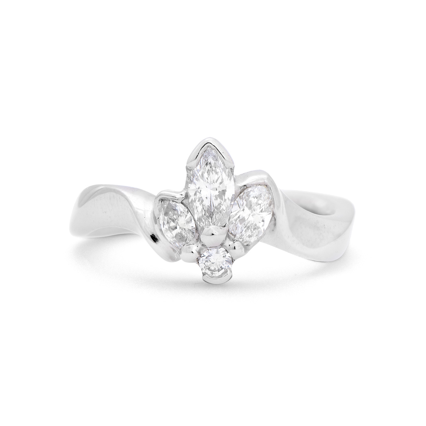 gold in grey asymmetrical ring rings products rose engagement diamond artemer