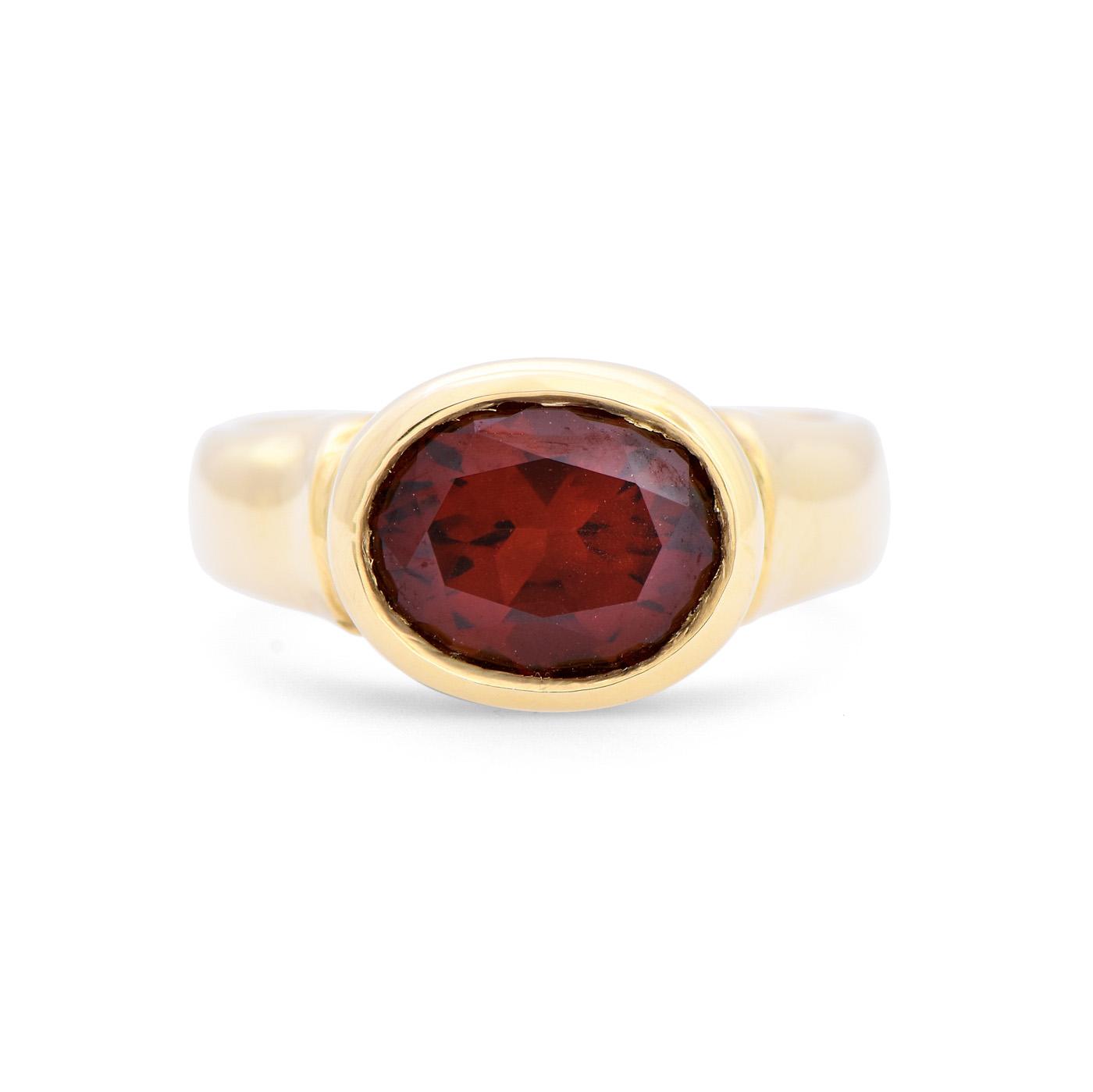 Oval Garnet Bezel Set Ring