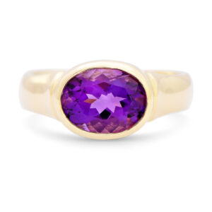 Oval Amethyst Bezel Set Ring