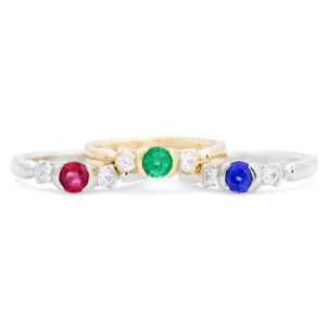 Sapphire, Ruby, and Emerald Rings