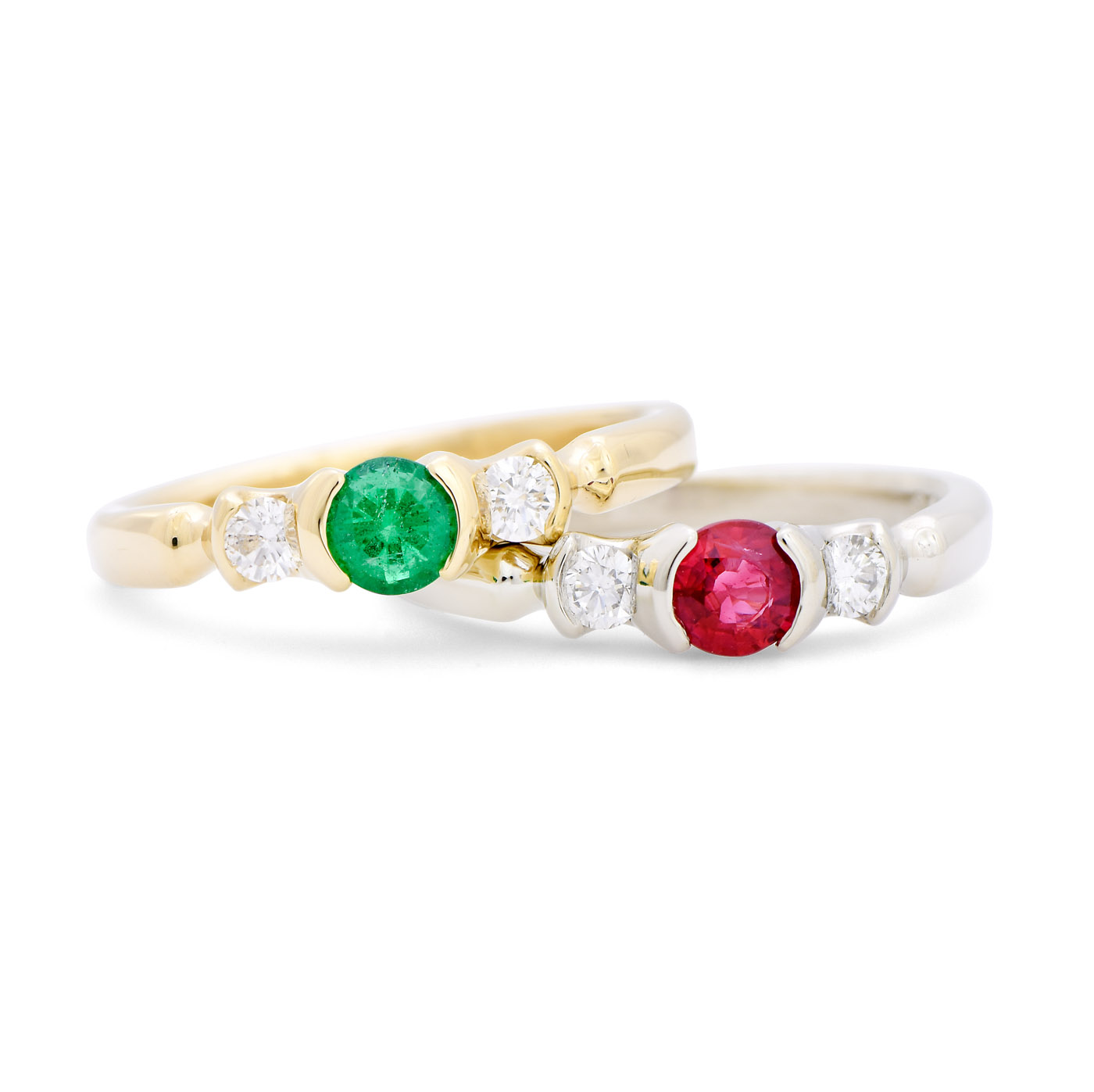 Ruby, Emerald, and Diamond Three Stone Ring