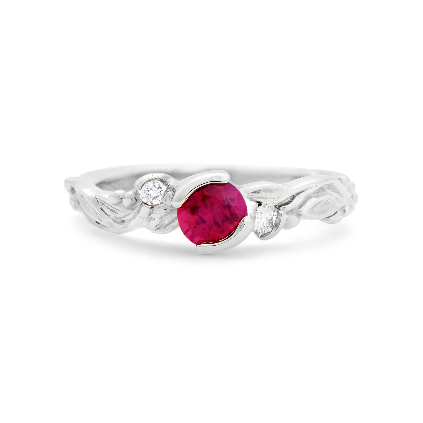Ruby and Leaf Accent Ring