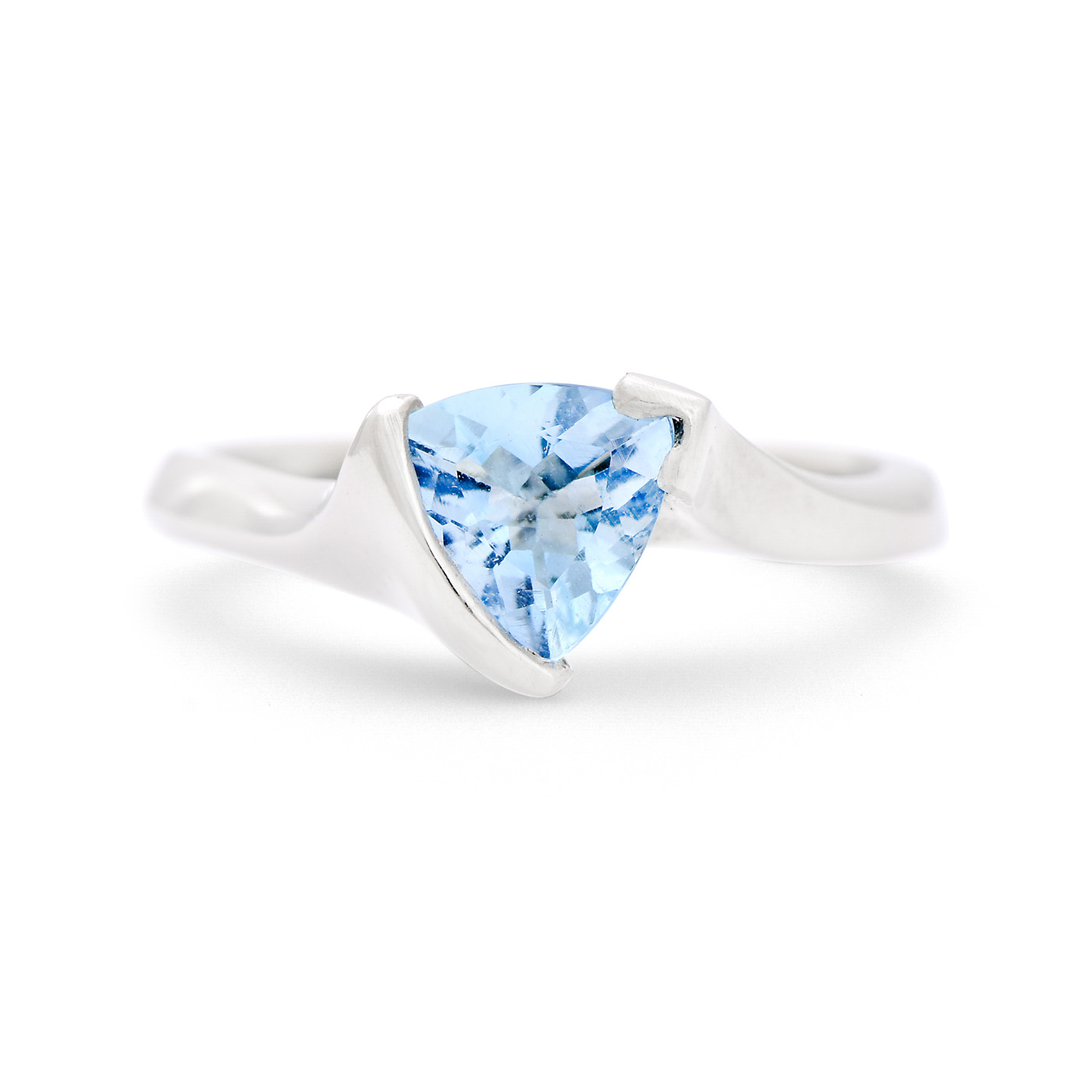 Trillion Cut Aquamarine Ring