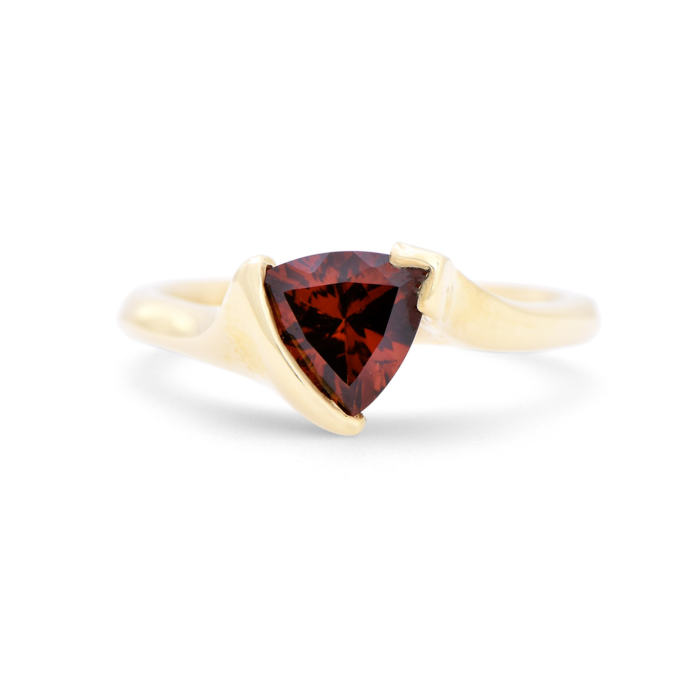 Trillion Cut Garnet Ring