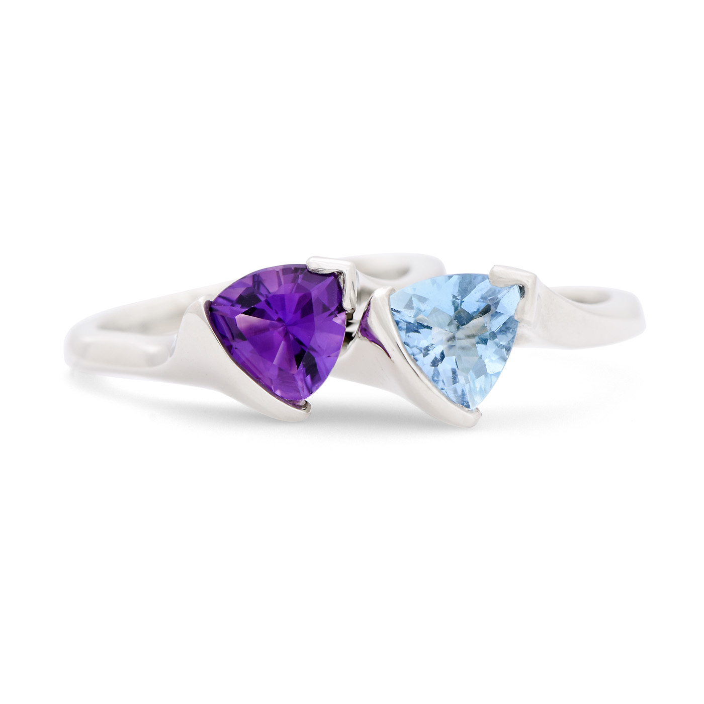 Aquamarine and Amethyst Trillion Cut Gemstone Ring