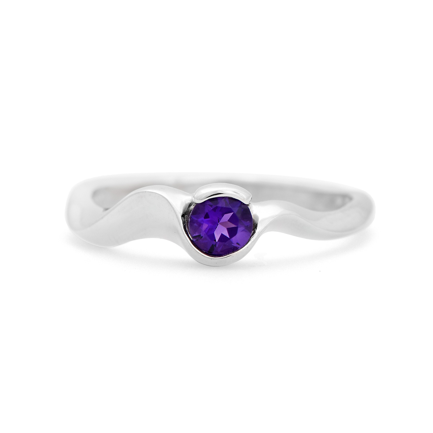Curved Amethyst Ring