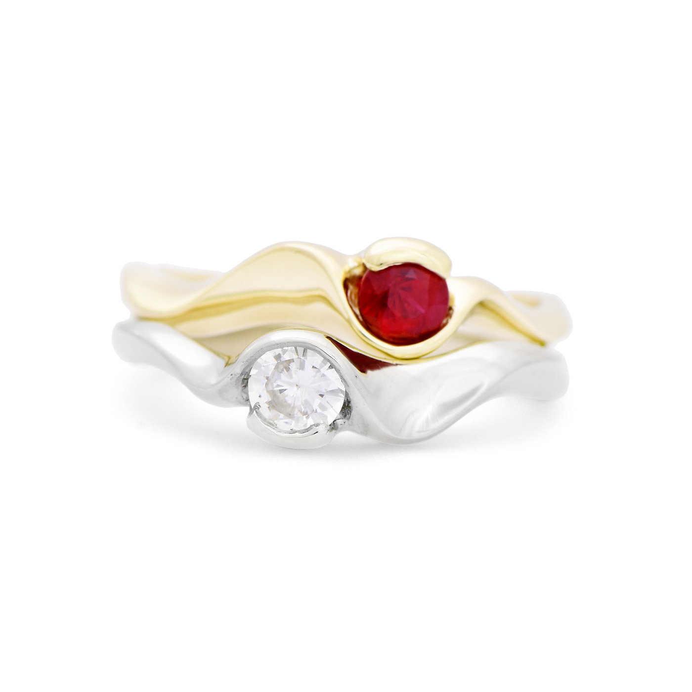Curved Ruby and Diamond Ring