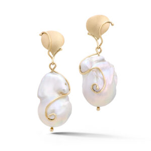 14k yellow gold baroque freshwater pearl earrings