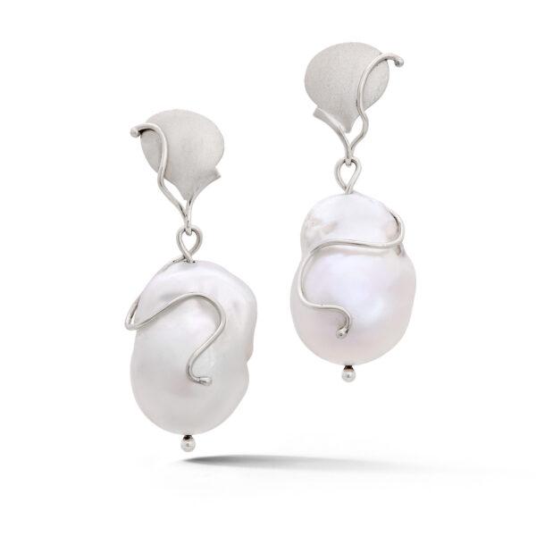 14k white gold baroque freshwater pearl earrings