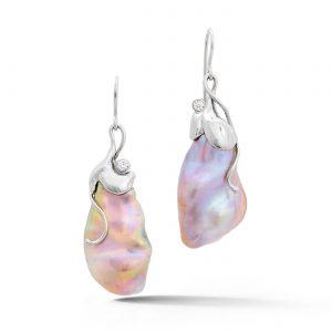Baroque pearl white gold earrings