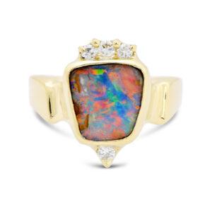 Boulder opal 18ky ring