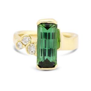 Green tourmaline and diamond 18ky ring