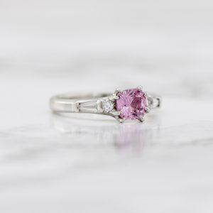 Pink sapphire platinum ring