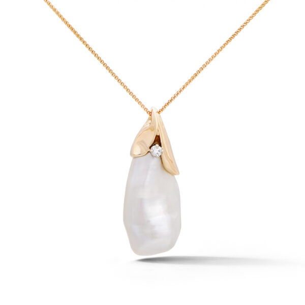 Baroque Pearl and Diamond Pendant