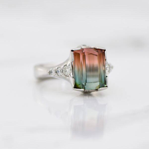 Watermelon Tourmaline and Diamond Platinum Ring