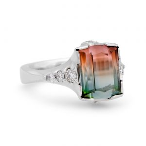 Watermelon Tourmaline and Diamond Platinum Ring