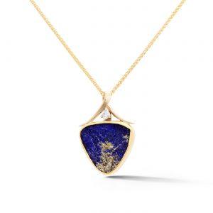 Lapis Lazuli yellow gold pendant