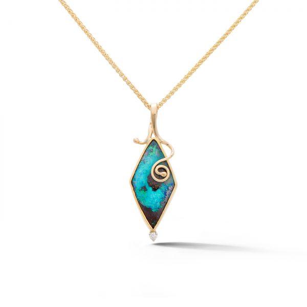 Boulder Opal Spiral Pendant