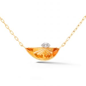 Fantasy Cut Citrine and Diamond Pendant