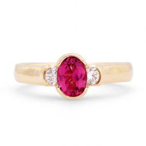 Oval Pink Tourmaline and Diamond Ring