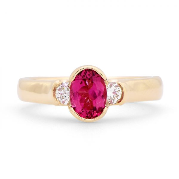 Oval Pink Tourmaline and Diamond Ring