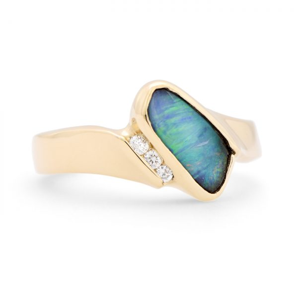 Diagonal Boulder Opal Ring