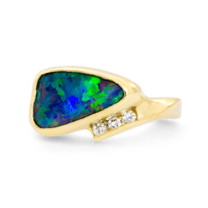 Asymmetrical Boulder Opal and Diamond Ring