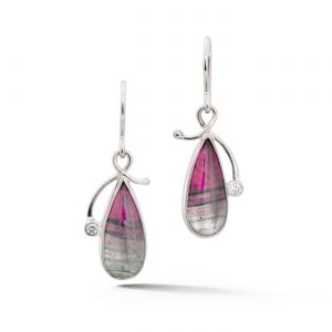 Watermelon Tourmaline and Diamond Earrings