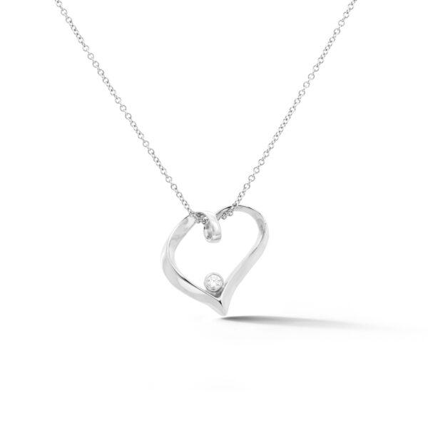Ribbon Heart Diamond Pendant 14k white gold