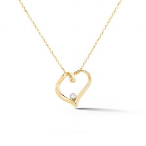 Ribbon Heart Diamond Pendant 14k yellow gold
