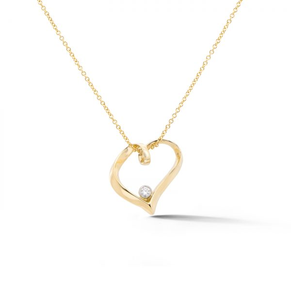 Ribbon Heart Diamond Pendant 14k yellow gold