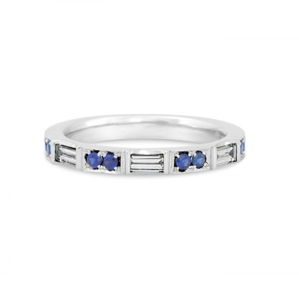 Diamond Baguette and Sapphire Stackable Band
