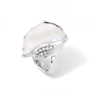 Large Keshi Pearl and Diamond Ring