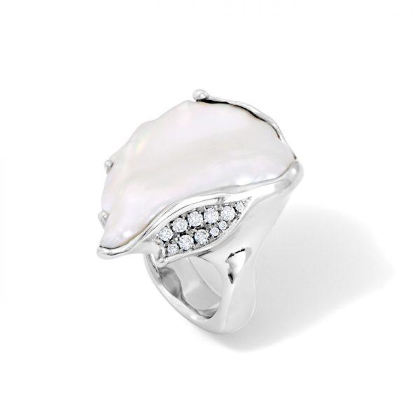 Large Keshi Pearl and Diamond Ring