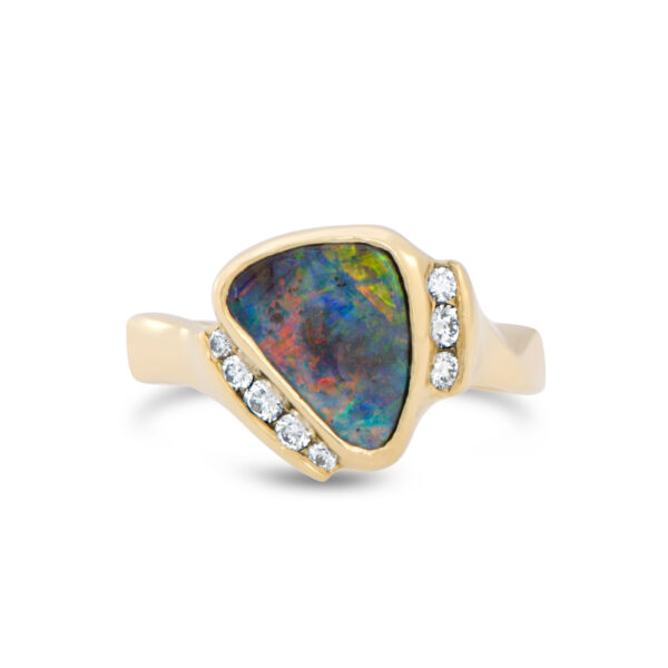 Boulder Opal and Channel Set Diamond Ring