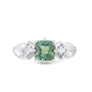 Blue-Green Tourmaline and Diamond Ring