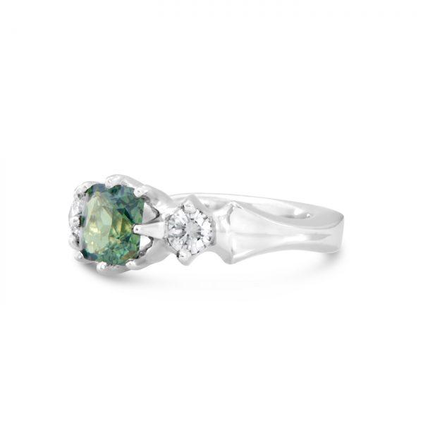Blue-Green Tourmaline and Diamond Ring