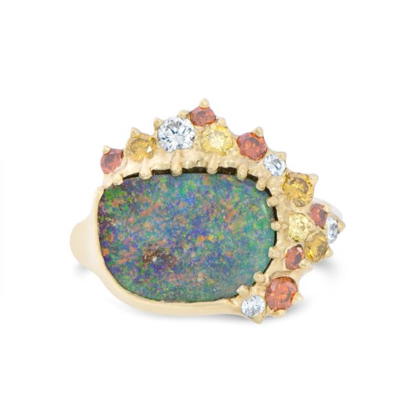 Australian Boulder Opal and Diamond Ring