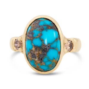 Turquoise and Champagne Diamond Ring