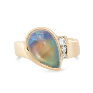 Rainbow Moonstone and Diamond Ring