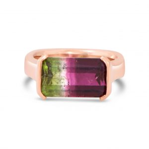 Watermelon Tourmaline Rose Gold Ring