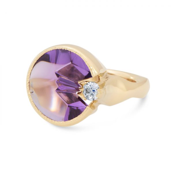 Custom Cut Amethyst Ring